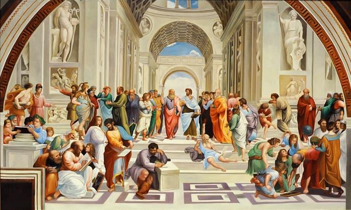 """La Scuola di Atene è un affresco (770×500 cm circa) di Raffaello Sanzio, databile al 1509-1511 ed è situato nella Stanza della Segnatura, una delle quattro """"Stanze Vaticane"""","""